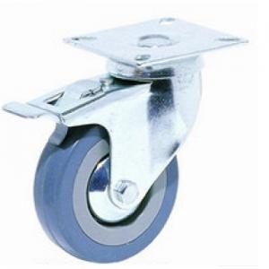 """גלגל גומי אפור פלטה מסתובבת +מעצור עד 60 ק""""ג"""