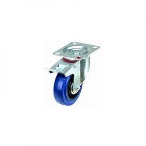 """גלגל גומי כחול פלטה מסתובבת+מעצור עד 250 ק""""ג (רזיליקס)"""