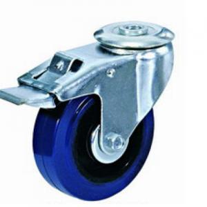 """גלגל גומי כחול חור מתאם+מעצור עד 100 ק""""ג (רזיליקס)"""